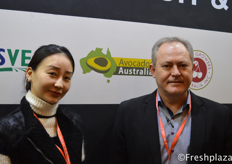 John Tyas and his colleague from Avocados Australia Limited (AAL), which is the representative industry body for the Australian avocado industry. Australian avocados do not have access yet to the Chinese market, though they hope with their presence in this exhibition, they can show their commitment and support to an export agreement between their countries.来自Avocados Australia Limited (AAL)的John Tyas和他同事,该公司是澳大利亚鳄梨产业的产业主体代表。澳大利亚的鳄梨还没有进入中国市场,但他们希望参加这次展览,这能够表现他们对两国之间出口协议的承诺和支持。