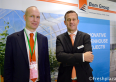 Fulco Wijdooge from Ridder visiting the booth of John Meijer from Bom Group. Bom Group is specialized in the supply, construction and installation of Venlo greenhouses, screen systems and climate systems for the glass horticulture sector, both at home and abroad. We export turnkey projects all over the world.来自Ridder的Fulco Wijdooge与来自Bom Group的John Meijer在Bom Group展位。Bom Group是一家专业为国内外玻璃园艺行业提供、建造和安装Venlo温室、屏风系统和气候系统的公司。他们向全世界出口交付工程。
