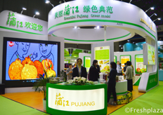 The booth of Beautiful Pujiang Green Model. Presenting their kiwi fruit.美丽浦江绿色典范的展位,他们正在展示他们的猕猴桃