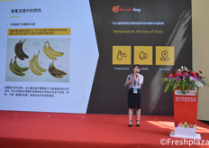 Tina Sun from Fresh-Key giving a presentation about the importance of temperature control during transport and storage of bananas. // 来自鲜跃(上海)信息科技有限公司的孙园介绍了香蕉运输和储存过程中温度控制的重要性。