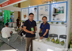 Li Tao and Steven from Shanghai IRRI Industrial Development Co., Ltd. They are specialised in the ripening of fruits and the preservation of it. // 来自上海研锐实业发展有限公司的李涛和Steven,他们专门从事水果的催熟和保存。