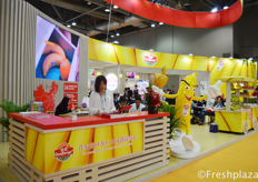 Busy times at the booth of Goodfarmer Foods Holding (Group) Limited Company. They are one of the leading banana importers and sellers in the Chinese market.佳农食品控股(集团)股份有限公司展位前的忙碌景象。他们是中国市场上主要的香蕉进出口商之一。