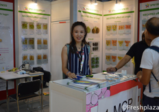 Debby from SPM Biosciences(Beijing) Inc. They research and supply effective, safe and environment friendly agrochemicals to the customers. They supply pre-harvest and post-harvest products.来自禾金正生物科技(北京)股份有限公司的Debby。他们研究并向客户提供有效、安全、环保的农用化学品。他们供应采前和采后的产品。