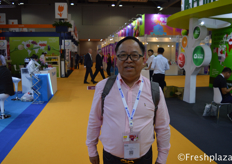 Henry Wang from Jiutai Modern Agriculture Co., Ltd. His company is specialised in growing and exporting pomelo, furthermore, also imports Polish apples.来自久泰现代农业有限公司的汪恒定,他的公司是一家专业种植和出口柚子的公司,此外,还进口波兰苹果。