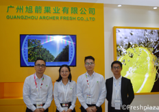 Louis Liang, Msr. Zhou, Leo Chen and colleague from Guangzhou Archer Fresh Co., Ltd. They import and export high quality fruits at the Chinese market, with main products grape, cherry and citrus.来自广州旭箭果业有限公司的总经理梁振操,周小姐,陈先生。他们在中国市场进出口优质水果,主要产品有葡萄、樱桃和柑橘。