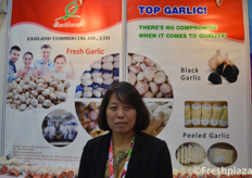 Jessica Li from Easiland Commercial Co.,Ltd. Specialised in exporting garlic, fresh or processed worldwide. // 来自Easiland Commercial Co.,Ltd.的Jessica Li,该公司致力于出口大蒜、新鲜大蒜或加工大蒜。