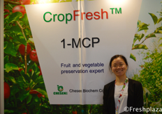 Cathy Fang from Chesen BioChem Co., Ltd. Chesen BioChem Co., Ltd is one of the leading manufacturer of agriculture protection products in China, specialized in research, development, production and market of agrochemicals. // 来自采森生物化学有限公司的Cathy Fang,该公司是中国领先的农业防护用品生产企业之一,专业从事农用化学品的研发、生产和销售。