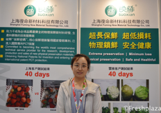 Nancy Lu from Shanghai Fuming New Material Technology Co., Ltd. They develop special food packaging to extend the shelflife of different fruits and vegetables. // 来自上海复命新材料科技有限公司的陆美华,他们开发了特殊的食品包装,以延长不同水果和蔬菜的货架期。