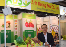 Mr Tu Phan (director) from Anh Duong Sao Co., Ltd. The company supplies a wide range of tropical fruits from Vietnam.