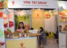 Mrs Tram Tran of VINA TT GROUP. The company supplies a variety of fresh fruits from Vietnam.