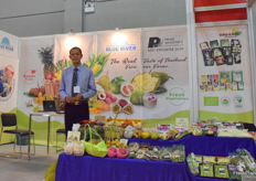 Mr Soonthorn Sritawee (managing director) from Blue River Products Limited. The company supplies a variety of tropical fruits and vegetables from Thailand.