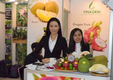 Mrs Nguyen Chien (sales executive) and her colleague are presenting VINAGRIN Import Export Co., LTd.