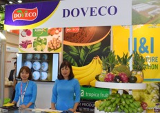 Mrs Dinh Thu Huong (sales purchase manager) and her colleague are presenting DOVECO.