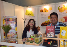 Mrs Kim Dong-Ha (left) from Kiss Kiwi. The company supplies a variety of kiwi fruits from South Korea.