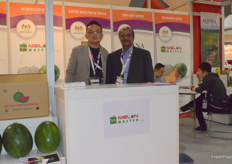 Mr Richard Ng (left) and Mr M. Kaliyannan (right) from Melon Master Sdn.Bhd. The company supplies watermelons from Malaysia.