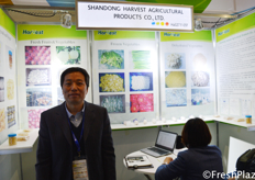 Yan Shichang from Shandong Harvest Agricultural Products Co., Ltd. They are specialized in planting, processing and exporting high quality fresh garlic, ginger, chili, apple, pear , pomelo for the international market. // 来自山东哈维斯农产品有限公司的颜世昌。他们专业种植、加工和出口高品质的新鲜大蒜、生姜、辣椒、苹果、梨、柚子,产品面向国际市场。