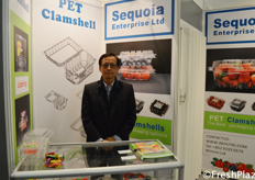 Ben Chan from Sequoia Enterprise Ltd. They produce PET Clamshells to package fruits and vegetables. // 来自江门玖泰塑胶产品有限公司的陈斌。他们生产PET蛤壳来包装水果和蔬菜。