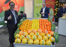 Henry Wang from Jiu Tai Agriculture. The company is selling pomelo, tangerine and fresh cut pomelo on the Polish market. // 久泰农业的汪恒定(Henry Wang)。该公司在波兰市场销售柚子,蜜橘和鲜切柚子。