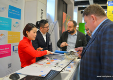 Busy sales at the stand of Cydiance Technology, producer of data and temperate tracking devices. The company has recently launched new product lines. On the photo are Tina Sun and Austin Gu. // 上海芯点信息科技有限公司展位前忙碌的销售团队。该公司是一家数据和温度追踪设备生产商。这家公司最近推出了新的产品系列。照片上是Tina Sun 和Austin Gu。