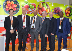 South Africa is well represented in Beijing. From left to right, Derek Donkin, CEO Subtrop, Willem Bestbier, CEO SATI, Lucien Jansen, CEO PPECB, Anton Kruger, CEO FPEF, Justin Chadwick, CEO Citrus Grower's Assocation and Mano Mashaba, CEO Fruit South Africa. // 南非团队在北京成功展出。从左到右为,Subtrop首席执行官Derek Donkin,SATI首席执行官 Willem Bestbier, PPECB首席执行官Lucien Jansen,FPEF首席执行官Anton Kruger,柑橘种植者协会首席执行官Justin Chadwick和South Africa水果协会首席执行官Mano Mashaba。