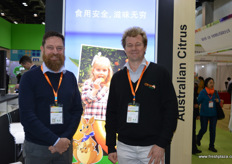 Nathan Hancock and David Daniels of Citrus Australia. // 澳大利亚柑橘协会的Nathan Hancock和David Daniels。