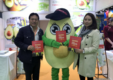 Mr. Avocado with, to the left, John Wang, CEO, and Jade Shan, GM.