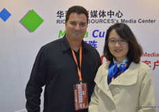 Doron Ovits from Ovits Agriculture from Egypt together with Rose Zhang, Project Manager at Richland Sources, co-organiser of the Horti China Exhibition // 来自埃及 Ovits Agriculture的Doron Ovits与华科资源的项目经理、亚洲园 艺博览会的联合组织者Rose Zhang一起