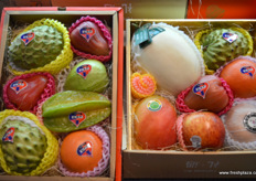 Gift boxes filled with imported fruits, including Camposol's mangoes and exotic produce from Taiwan. // 装 满进口水果的礼品盒,包括Camposol的芒果和来自台湾的异国农产 品。